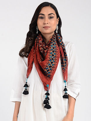 Red-Blue Printed Cellulosic Habutai Scarf with Tassels