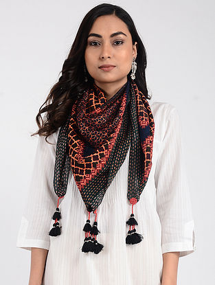 Green-Pink Printed Cellulosic Habutai Scarf with Tassels