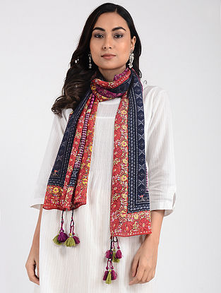 Blue-Red Printed Cellulosic Habutai Scarf with Tassels