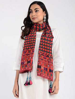 Pink-Green Printed Cellulosic Habutai Scarf with Tassels