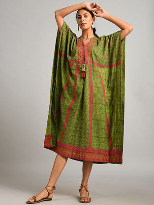 Green Printed Cotton Kaftan Dress