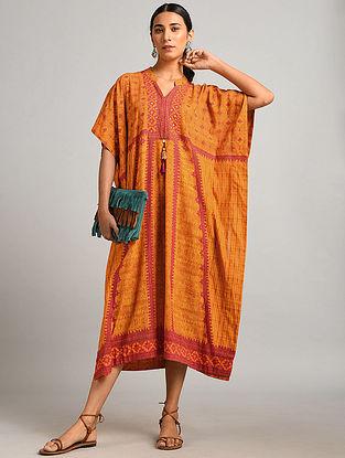 Orange Printed Cotton Kaftan Dress