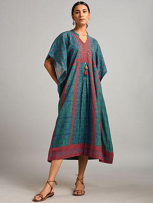 Blue Printed Cotton Kaftan Dress