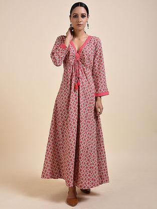 Red Digital Printed Cotton Modal Maxi Dress