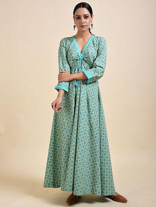 Cyan Blue Digital Printed Cotton Modal Maxi Dress