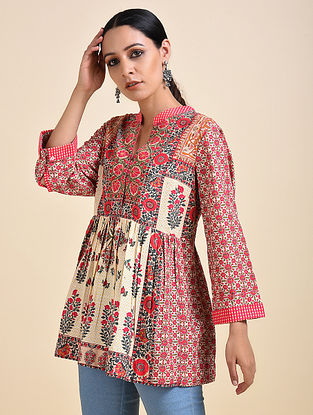 Red Digital Printed Cotton Modal Top
