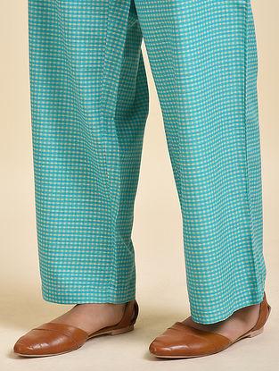 Cyan Blue Digital Printed Cotton Modal Pyjamas
