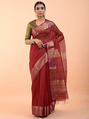 Coral Handwoven Maheshwari Saree (Set of 3)