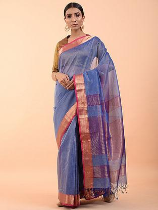 Blue Handwoven Maheshwari Saree (Set of 3)