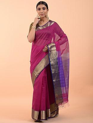 Pink Handwoven Maheshwari Saree (Set of 3)