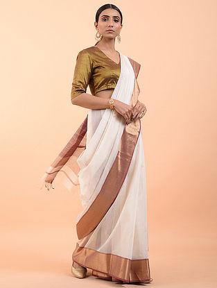 Ivory Handwoven Maheshwari Saree (Set of 3)