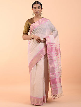 Pink Handwoven Maheshwari Saree (Set of 3)