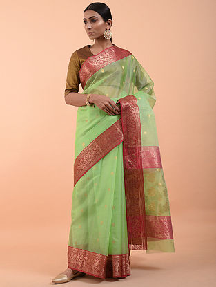 Green Handwoven Silk Cotton Saree (Set of 3)
