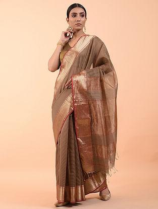 Brown Handwoven Silk Cotton Saree (Set of 3)
