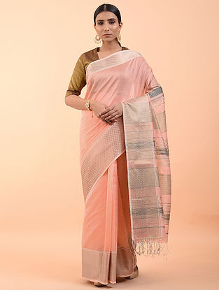 Peach Handwoven Mukaish Silk Cotton Saree (Set of 3)