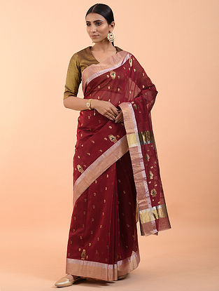 Maroon Handwoven Silk Cotton Saree (Set of 3)