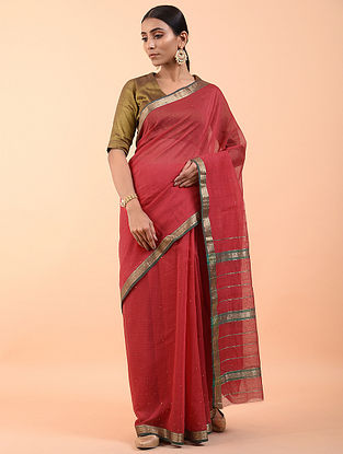 Red Handwoven Mukaish Silk Cotton Saree (Set of 3)