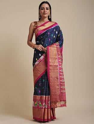 Blue-Pink Handwoven Pochampally Ikat Silk Saree
