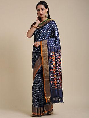 Blue Handwoven Pochampally Ikat Silk Saree