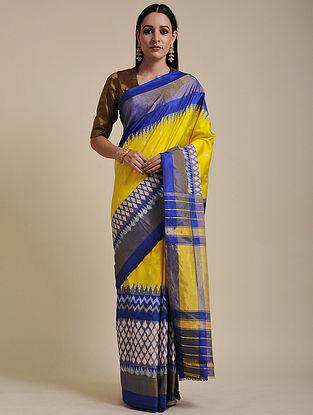 Yellow-Blue Handwoven Pochampally Ikat Silk Saree