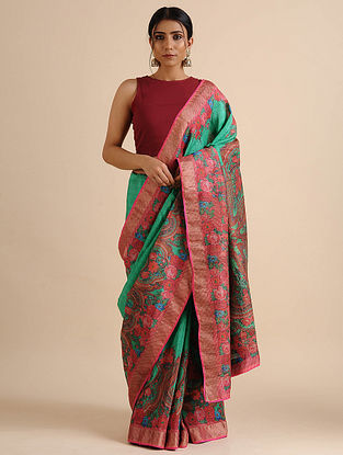 Pink-Green Printed Handwoven Silk Linen Saree with Mukaish