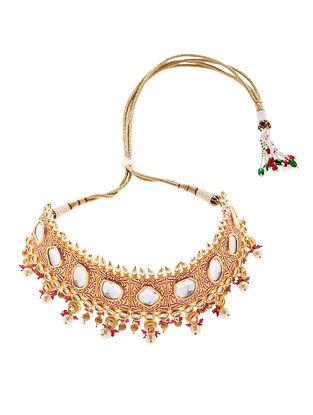 Pink Gold Tone Enameled Kudan Necklace