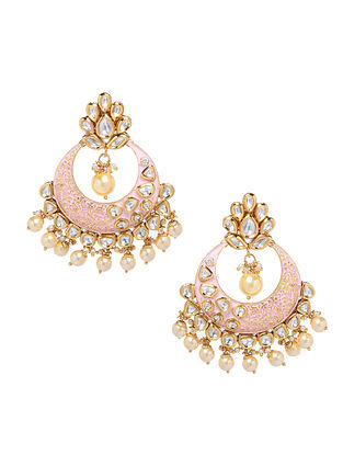 Pink Gold Tone Enameled Kundan Earrings