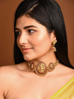 Gold Tone Temple Work Necklace with Jhumki Earrings
