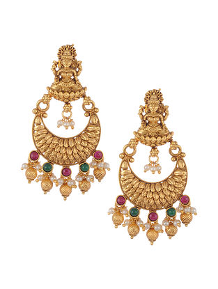 Gold Tone Temple Work Chandbali Earrings with Pearls