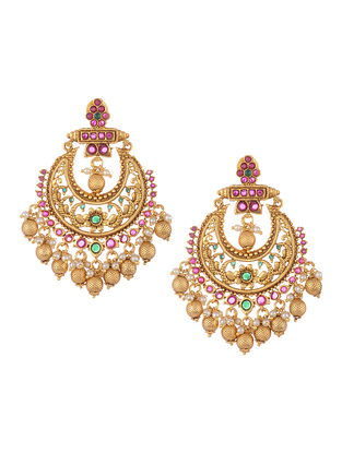 Gold Tone Temple Work Chandbali Earrings