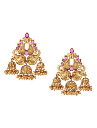 Gold Tone Temple Work Jhumki Earrings