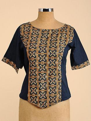Black-Brown Semi Stitched Corset Cotton Blouse