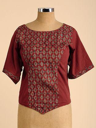 Red Semi Stitched Corset Cotton Blouse
