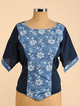 Blue Semi Stitched Corset Cotton Blouse