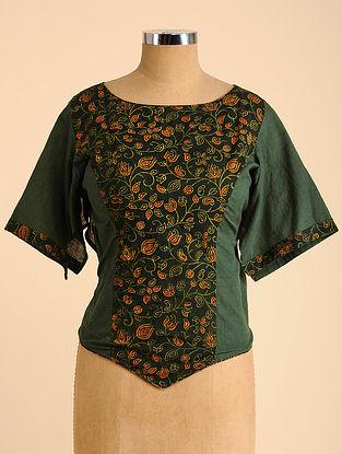 Green-Orange Semi Stitched Corset Cotton Blouse
