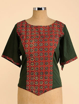 Green-Red Semi Stitched Corset Cotton Blouse
