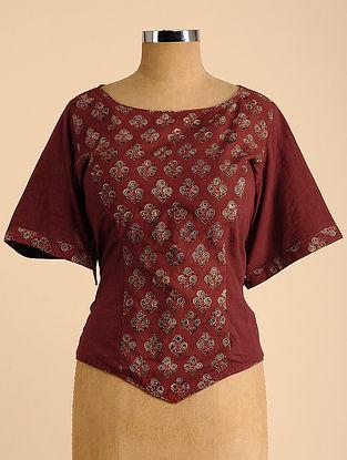 Maroon Semi Stitched Corset Cotton Blouse