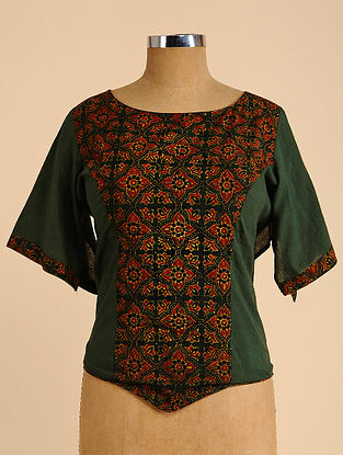 Green-Brown Semi Stitched Corset Cotton Blouse