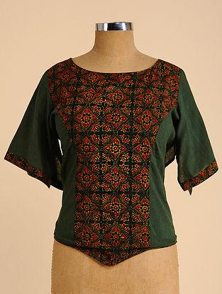 Green-Brown Semi Stitched Corset Cotton Blouse