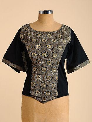 Black-Grey Semi Stitched Corset Cotton Blouse