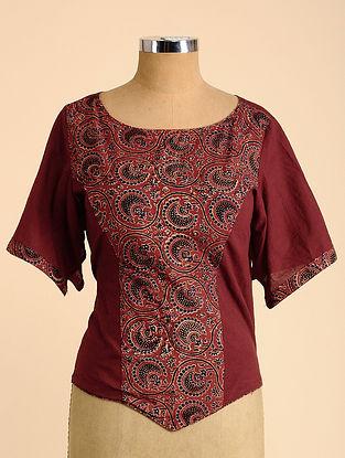 Maroon-Black Semi Stitched Corset Cotton Blouse