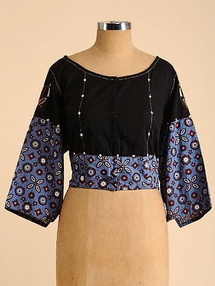 Black-Blue Semi Stitched Hand Embroidered Cotton Blouse