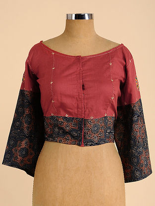 Red-Black Semi Stitched Hand Embroidered Cotton Blouse