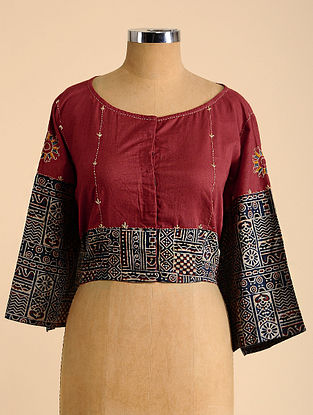 Red-Blue Semi Stitched Hand Embroidered Cotton Blouse