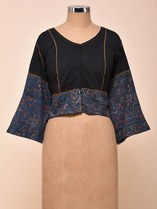 Black-Blue Semi Stitched Hand Embroidered Cotton Blouse with Ajrakh Print