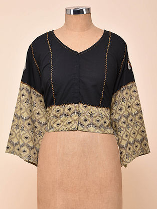 Black-Grey Semi Stitched Hand Embroidered Cotton Blouse with Ajrakh Print