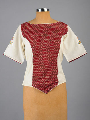 Red-White Hand Embroidered and Block Printed Semi Stitched Cotton Blouse