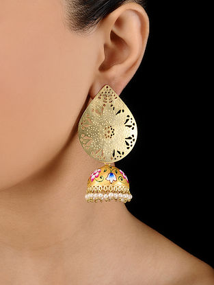 Yellow Gold Tone Hand Painted Enamel Earrings