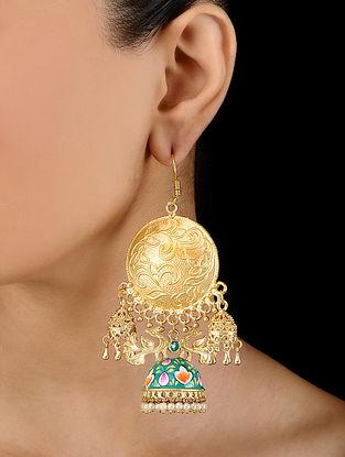 Green Gold Tone Hand Painted Enamel Earrings