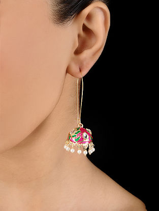 Pink Gold Tone Hand Painted Enamel Earrings